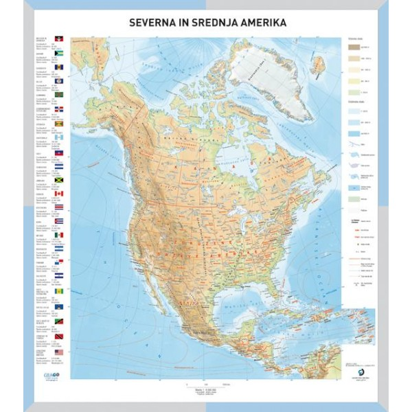 Solska Karta Severna In Srednja Amerika Stenski Zemljevid