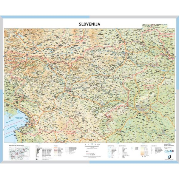 Solska Karta Slovenija Stenski Zemljevid Slovenije 1 185000